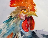 New Gray rooster original 12x9 watercolor painting Art by Delilah