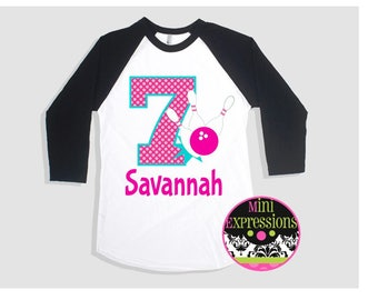 Bowling Birthday Raglan shirt Personalized just for you