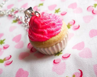 Hot Pink & White Cupcake Necklace / Food Necklace / Dessert / Kawaii / Cute Necklace / Sweet Lolita / Polymer Clay
