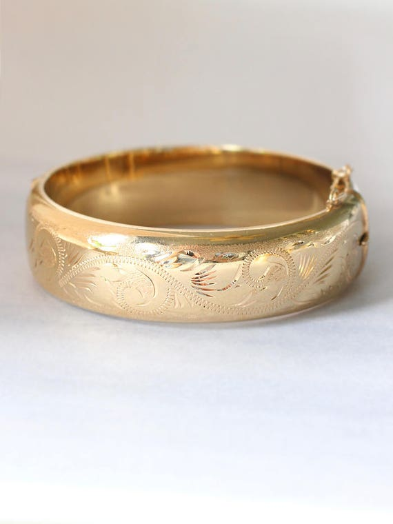 Vintage English Rolled Gold Bangle, Swirl Engraved Wide Cuff Bracelet - Waves of Gold