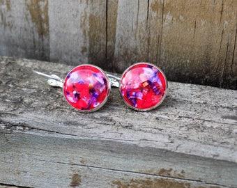 Silver Dangle earrings - Real flower petals, silver jewelry, boho, bohemian, women drop earring, lever back earring, floral, flower jewelry