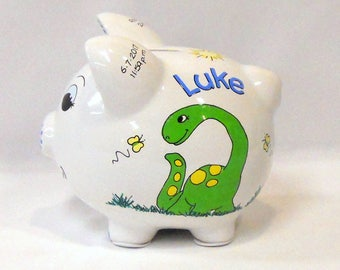 Personalized Ceramic Piggy Bank Dinosaurs