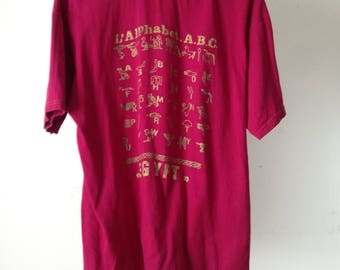 vintage EGYPT super soft fuschia & GOLD ANCIENT gods super soft t-shirt