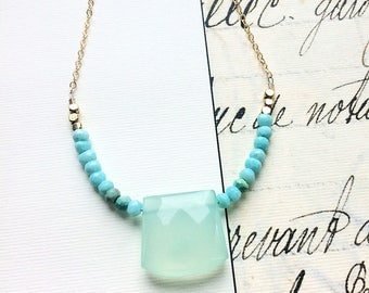 Chalcedony Necklace, Gemstone Jewelry, Light Green, Opal Necklace, Gemstone Necklace