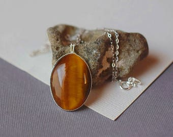 Cabochon Tigers Eye Necklace Golden Brown Necklace Tigers Eye Pendant Grade B Gemstone Necklace Sterling Silver Chain Silver 925 Bezel