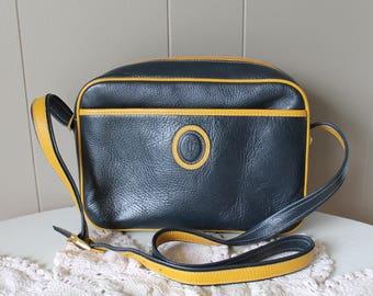 60s Lladro Mod Pebbled Leather Shoulder Purse Navy and Mustard Yellow Satchel Messenger Handbag Camera Bag