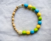 Silicone Teething Toy - Baby Teether - Unique Baby Gift - Silicone Teething Necklace - Silicone Teether - Organic Wood Toy - Baby Teether