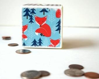 Bright Fox Piggy Bank,  Wooden Bank, Coin Box, Money Box, Tirelire, Wood bank, Kids Bank, Change Box, Cash Box, Bright Orange Fox, Blue Tree