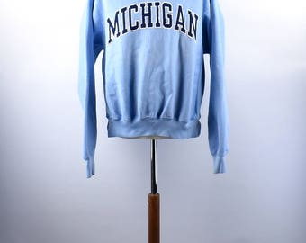 Light Blue University of Michigan Sweatshirt, Size Large