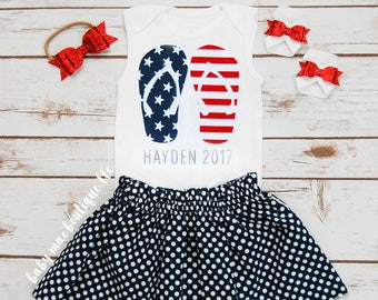 SALE! Fourth of July Outfit; July 4th Babygirl Outfit; Baby 1st Fourth bodysuit with Skirt; Gerber ® Onesies ® brand; Red White & Blue