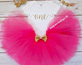 First Birthday Outfit Girl; One Birthday Tutu Outfit; baby girl fuschia tutu; Tutu Outfit for first birthday; Gerber ® Onesies ® brand