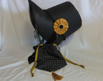 Black and Gold Stovepipe Bonnet and Reticule- Regency, Georgian, Jane Austen Era Bonnet and Purse