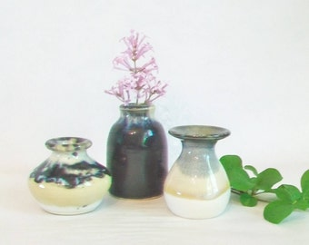 Vases - Set of 3  - Small Vases - Mini Vases - Slate and cream glaze combinations - Ready to Ship