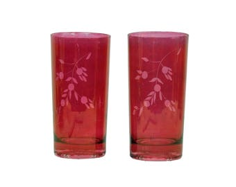 Pair Antique Vintage Painted Tinted Ruby Glass Etched Water Glasses Five Half Inches Tall Cottage Chic Victorian Decor