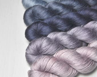 Softly spoken - Gradient of Silk/Cashmere Lace Yarn