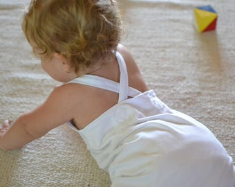 white overalls for baby NON NOON handmade / salopettes / romper / boy girl / newborn 3 6 9 12 18 months