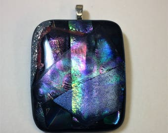 Midnight Fused Dichroic Glass Pendant with Necklace