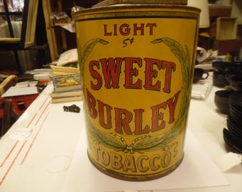 Sweet Burley tobacco tin, vintage tobacco tin, old tobacco tin, large tobacco tin, large Tuxburley store  tobacco tin