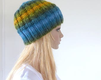 Blue and Yellow Knit Hat Blue beanie Slouch hat Green Womens winter hat