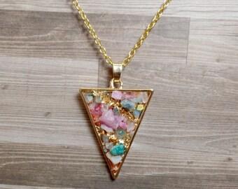 Colorful Quartz Triangle Necklace - Druzy Triangle Pendant - Arrow Necklace - No. 1