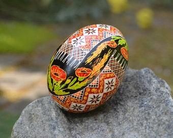 Poppy Pysanka traditional design Ukrainian Easter egg batik decorated chicken egg shell Christmas gift for mom