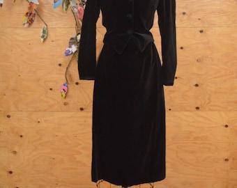Amazing Vintage 80's Laura Ashley Black Velvet Button Up Suit Skirt & Jacket SZ S