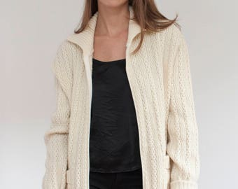 Chunky knit cream wool blend sweater - zip up fisherman cardigan - made in Canada