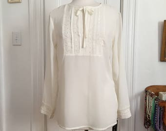 Vintage Sheer Tunic Blouse by Carlie's Court, Off White Pintuck Embroidered Ribbon Pullover Top, Long Sleeves, Boho, NWT, Size Small Medium