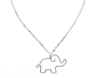 Elephant Necklace, Elephant Lover Gift, Elephant Jewelry, Animal Necklace, Silver Elephant Pendant, Baby Elephant Charm, Animal Jewelry