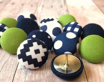 Push Pins,Pushpins,Thumbtacks,Thumb Tacks, Decorative Push Pins,Gift,Navy Blue,Blue,Lime Green,Chevron,Pretty Thumbtacks,Teacher Gift