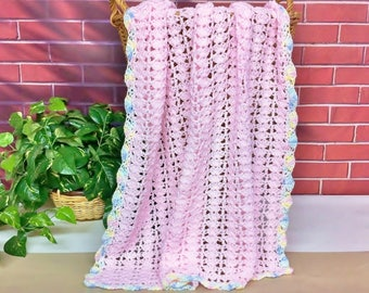 Pink Baby Blanket Crochet Afghan Throw Handmade Knitted, Pastel Pink Girl Blanket Baby Gift