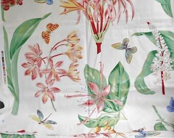 FLORAL Fabric Big Print Red Pink Flowers Butterfly Dragonflies Grasshopper 72 x 55 Material Summer Garden