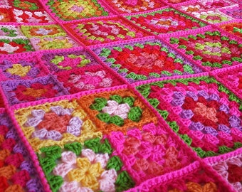 Vibrant Dolly 2 Sublime Large Crochet Granny Squares Blanket Afghan Throw