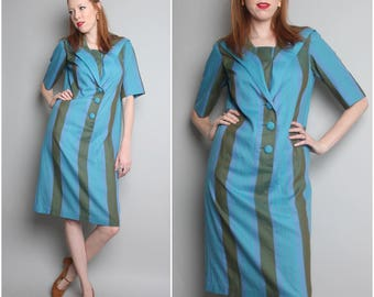1960's Blue Green Striped Day Dress / 60's Shift / Medium