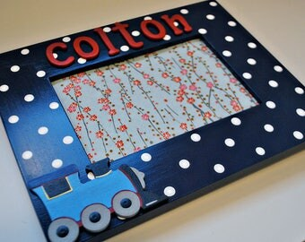 Train frame for kids Personalized train picture frame for children