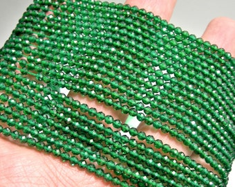 Emerald - 3mm micro faceted round beads - 1 full strand  16 inch 40 cm - 130 beads - AA Quality - Lab created Emerald - PG138