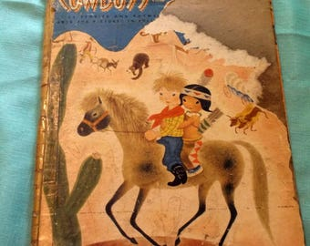 Vintage 1948 Giant Golden Book Tenggren's Cowboys and Indians by Kathryn and Byron Jackson with pictures by Gustaf Tenggren