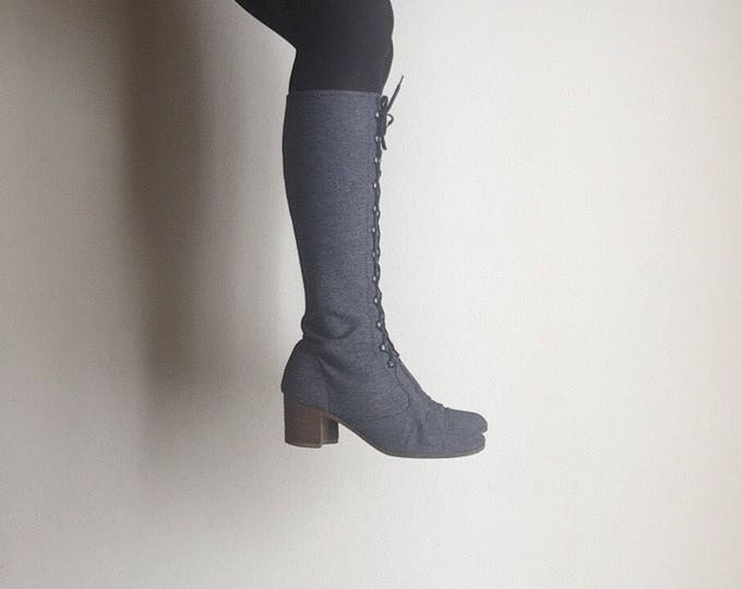 Mod Lace Up Boots | 7.5 / 8 60s vintage denim shell leather sole block heels pumps lace ups high tale riding metal zipper winter fall shoes