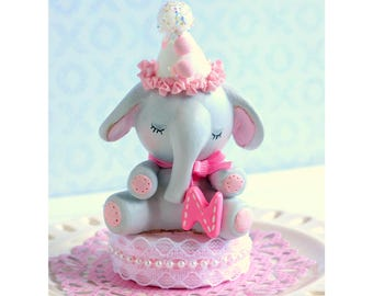 Baby Elephant Cake Topper, 1st birthday Girl, Elephant Baby Shower Cake Topper, Pink and Blue, Personalized, Customized Cake Topper, First