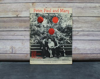 1964 Peter, Paul and Mary on Tour Songbook, Music Book, Sheet Music, Folk Music, Guitar, Piano