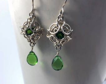 OOAK Phaedra Earrings Sterling Silver with Rare Vibrant Green Chrome Diopside