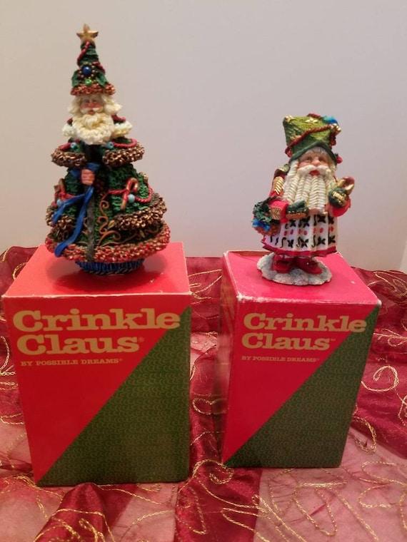 Crinkle Claus Christmas Santa Table Ornaments - Possible Dreams 1994 and 1996 - Russian Santa - Christmas Tree Santa