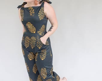 Golden Banksia Jumpsuit - Dark Green - Printed and Sewn by Alice