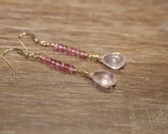 Rose Quartz and Pink Tourmaline Earrings, Rose Quartz Jewelry, Gemstone Jewelry, Pink, Silver or Gold, October Birthstone