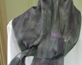 Hand painted silk scarf grey purple and blue with gold accents 8x54 Canadian design