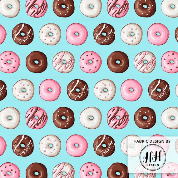 Donut fabric by the yard doughnut fabric blue icing for Childrens fabric