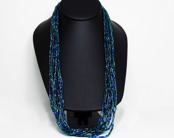 Blue and Green Necklace - Multi Strand Seed Beads - Vintage Retro Jewelry - Vintage 1980's Torsade Necklace - 12 Strand Necklace