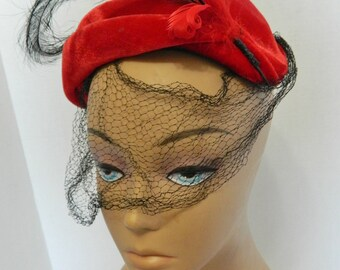 Red Velvet Ladies Vintage Hat with Black and Red Feather and Black Netting