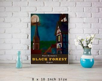 Black Forest Germany 8x10 Art Print Poster Fairytale Art Old World Decor Full Moon Wall Art