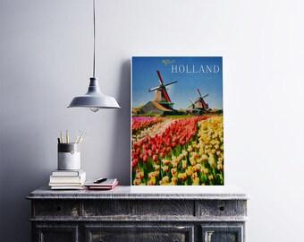Holland 12x18 Poster Art Print Windmill Art Tulip Print European Travel Poster Dutch Art Colorful Flower Art